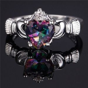 Jewelry - 💜💜Silver Color Sapphire Crown Claddagh ring 8💜